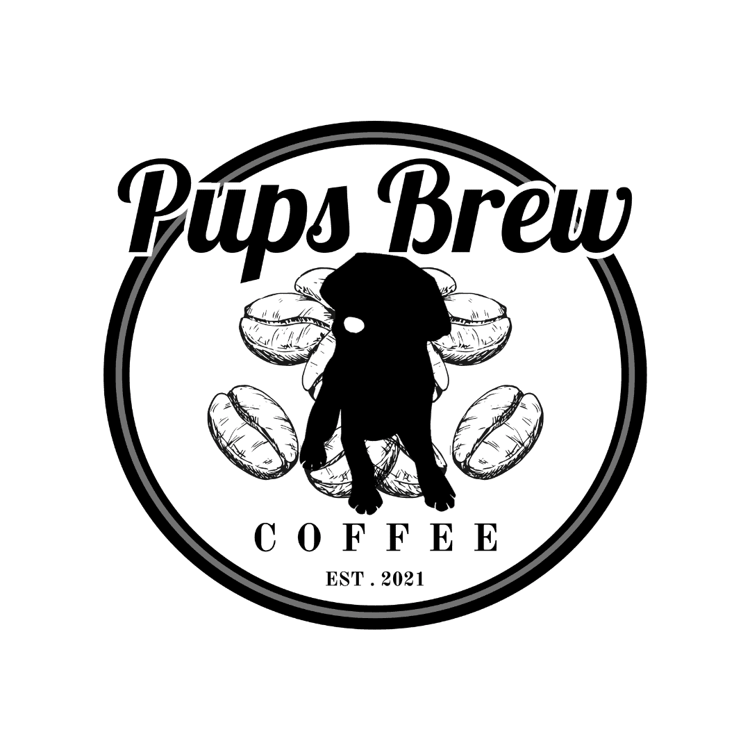 Coffee logo with dog and coffee beans
